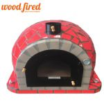 PRO DELUXE RED CERAMIC WOOD FIRED PIZZA OVEN WITH GLASS DOOR 100CM